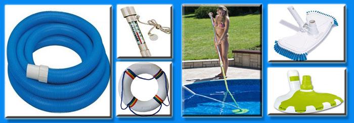 Аксессуары для бассейнов, водные пылесосы, игрушки, шланги, сачки, ремкомплекты, подкладка